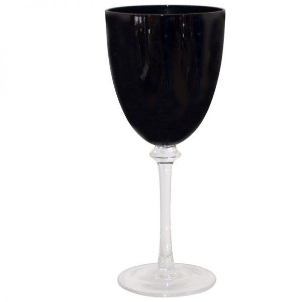 BLACK WINE CLEAR STEM 430ML 23CM