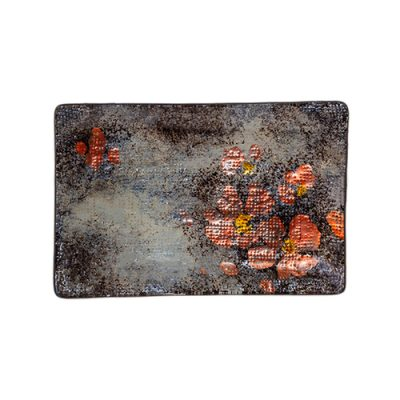ABSTRACT POPPY RECT PLATE 21X14CM