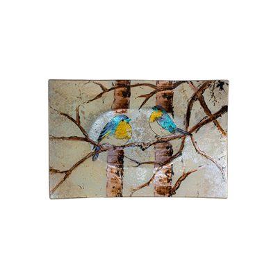 BIRDS IN TREE RECT PLATE 31X20CM