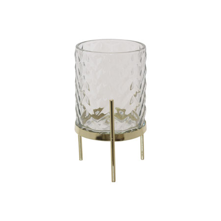 BELLA CLEAR/GOLD CANDLE HOLDER 18