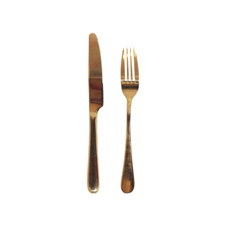 GOLD STARTER KNIFE AND FORK SET 2 PVD COATED