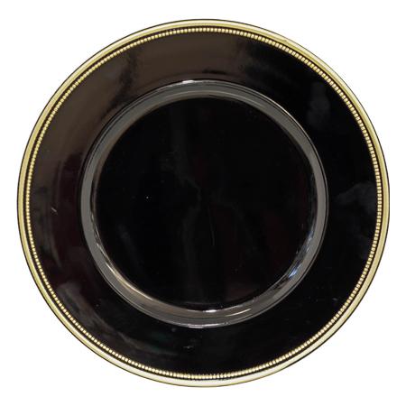 BLACK/GOLD RIM UNDERPLATE 33CM