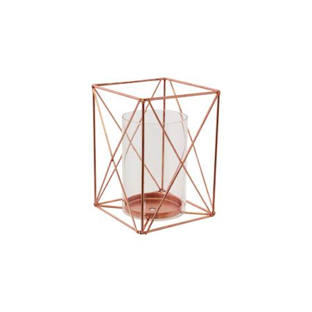 GEOMETRIC SQ LANTERN/GLASS 20X14