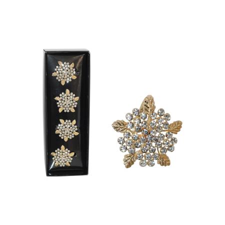GOLD LEAF/DIAMOND NAPKINRING SET4