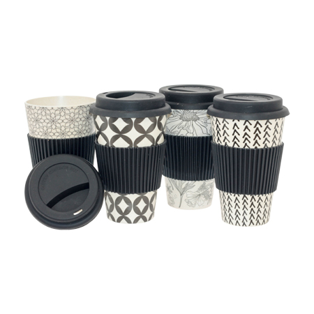 BAMBOO GEO TRAVEL CUP 14CM MIXED