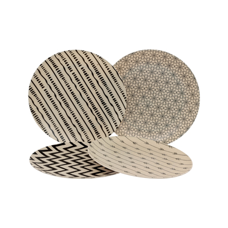BAMBOO GEO SIDE PLATE 20CM MIX
