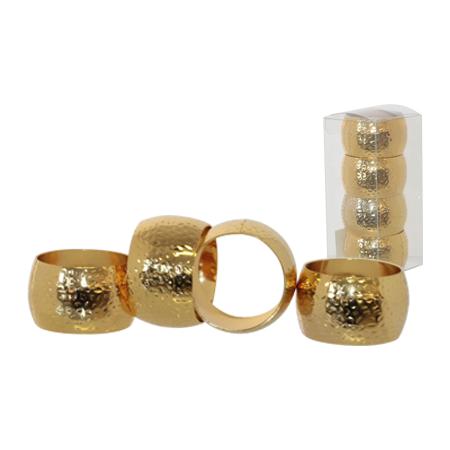 GOLD HAMMERED NAPKIN RING SET/4