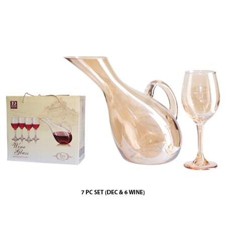 AMBER 7PC WINE SET (DEC+6GLASSES)