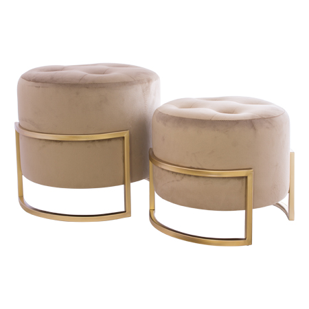 MINK OTTOMAN WITH GOLD S/2 33/42CM