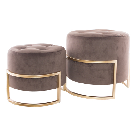 CHOCOLATE OTTOMAN WITH GOLD S/2