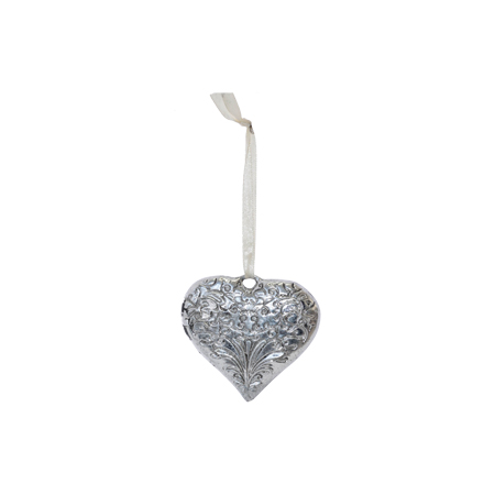 ANTIQUE SILVER HANGING HEART 8X7c