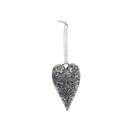 ANTIQUE SILVER HANGING HEART 10X6